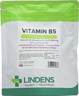 Lindens vitamina B5 500mg Pastillas 360 PACK UK fabricante apto para Veganos y VEGETARIANOS