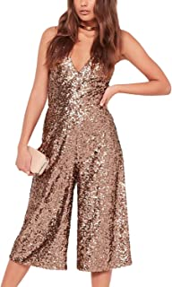 a420793215db haoduoyi Womens Spakle Sequin Spaghetti Strap V Neck Backless Party Jumpsuit