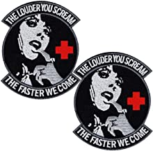 2PCS Louder You Scream Faster We Come Tactical Patch Embroidered Morale Applique Fastener Hook & Loop Emblem 3.54 x 2.95 inch