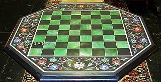 Gifts And Artefacts Mesa de ajedrez de la forma del octágono de la mesa de café de mármol de 21 pulgadas con las piedras s...