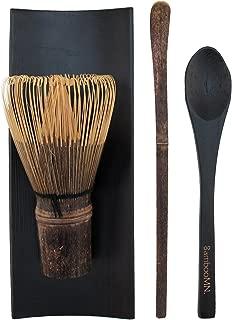 BambooMN Matcha Whisk Set - Black Chasen (Tea Whisk), Black Tray, Black Chashaku (Hooked Bamboo Scoop), Black Tea Spoon - 1 Set