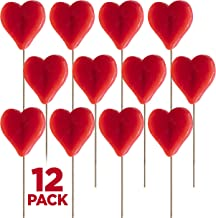 Heart Shape Lollipops 12 Pack Pops, Great for Valentines Day Goody Bag Fillers or Party Favor