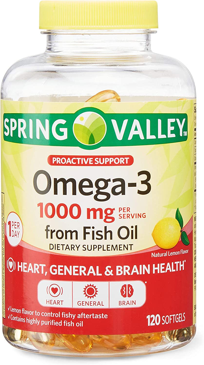 Spring Valley Omega-3 1000mg from Fish Oil Dietary Supplement, 120 Softgels