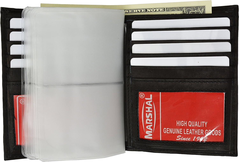 Men's Genuine Leather European Bifold Wallet Slim Hipster 2 Windows Credit Card Euro