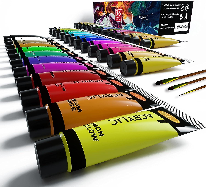 Acrylic Great interest Paint Set of Expert 36 Colors Washington Mall Tube (0.74fl 22ml oz