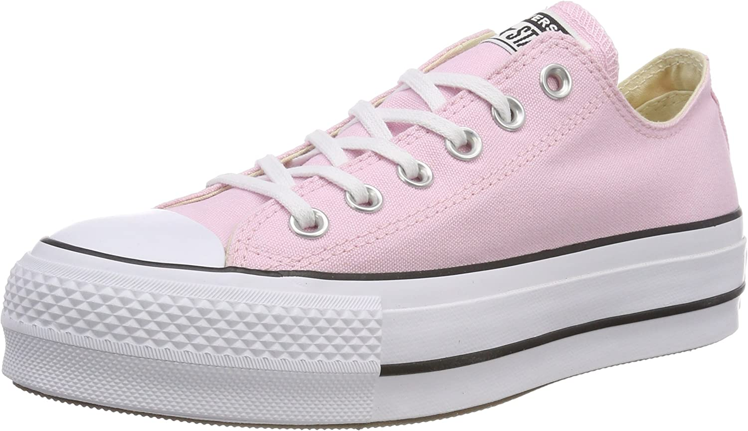 Converse Women's CTAS Lift Ox White Black Trainers, Cherry Blossom