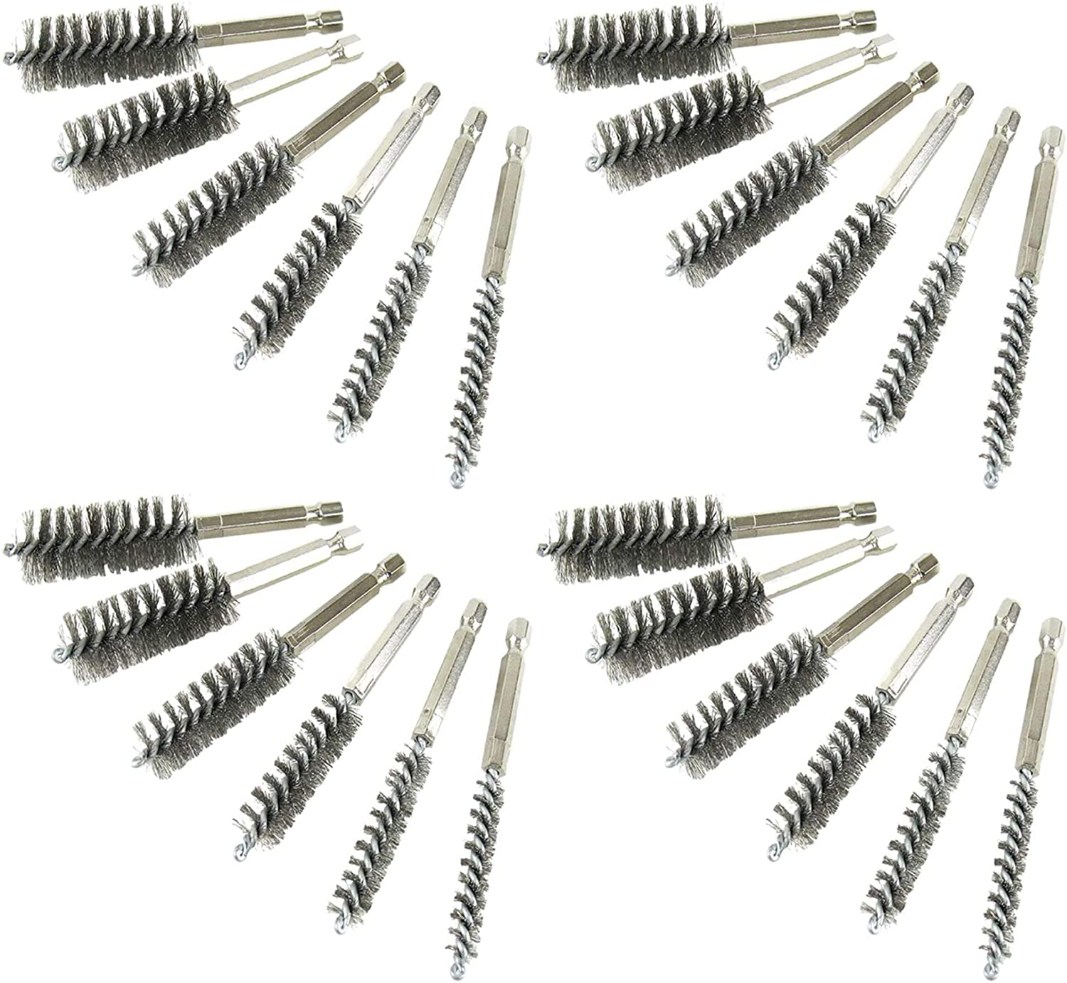 silver Twisted Wire Stainless Steel Bore Brush Set