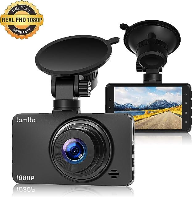 Lamtto Cámara de Coche 1080P Full HD Dash Cam 3 Pulgada LCD Conducir Grabadora 170°Ángulo con WDR G-Sensor Detección de Movimiento Grabación en Bucle Monitor de Aparcamiento