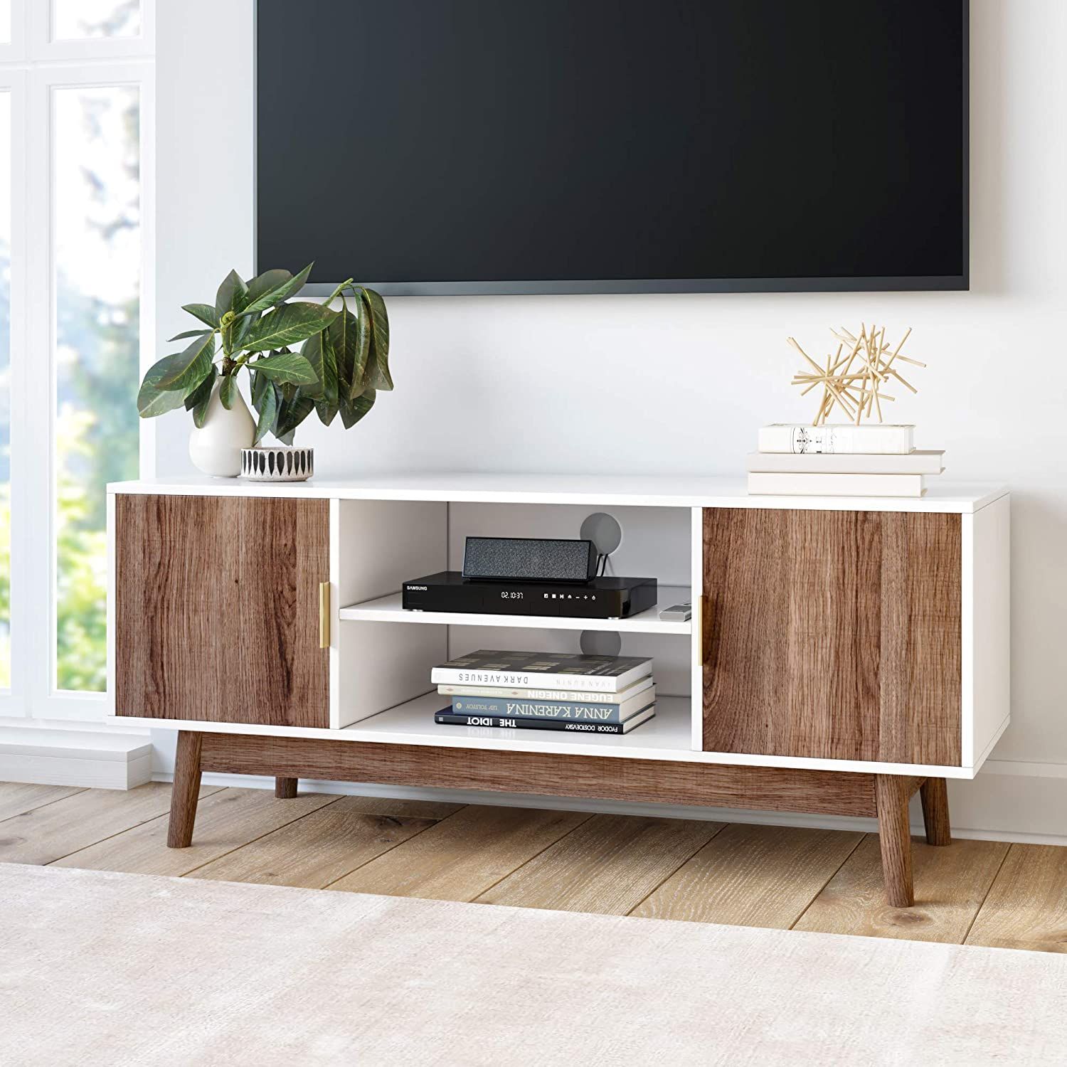 Nathan James 74403 Wesley Scandinavian TV Stand Media Console with Wooden Frame and Cabinet Doors, Multicolor