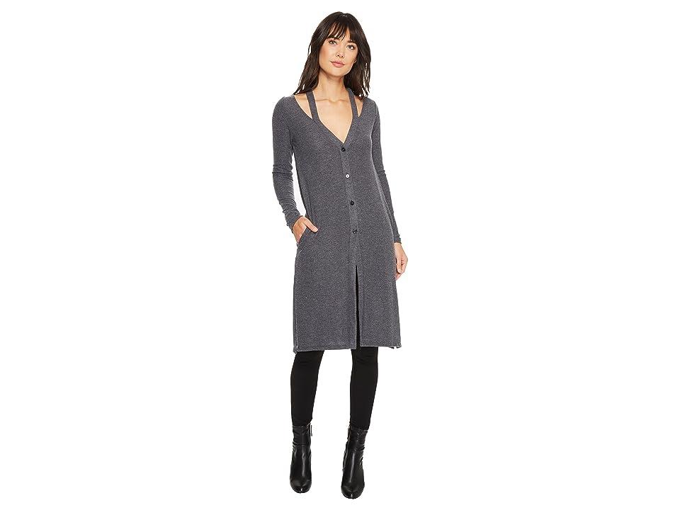 LAmade Gwen Super Fuzzy Knit Cardi (Charcoal) Women