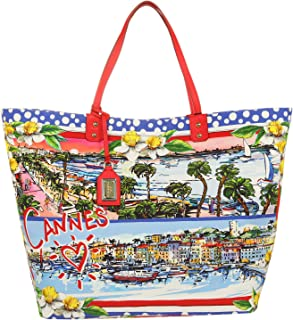 Dolce & Gabbana Damen Shopper Shopping Canvas Cannes blau BB6191-B9F57