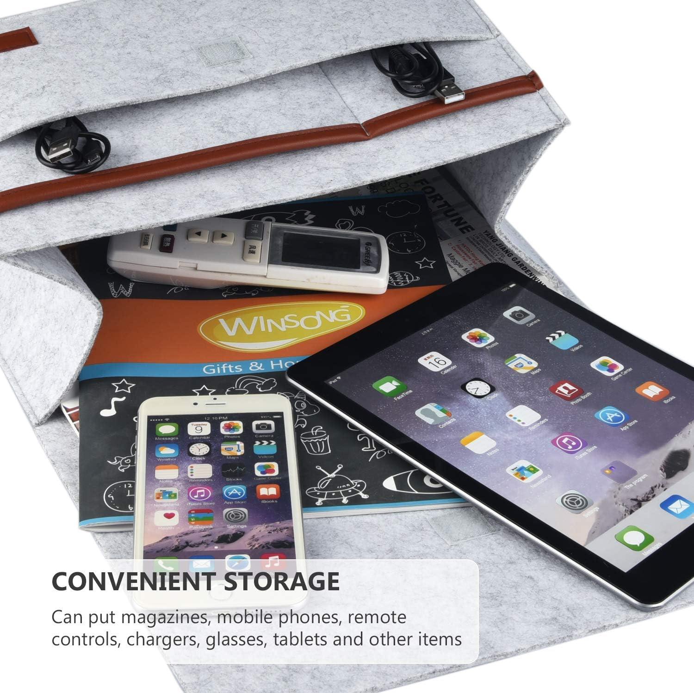 HOGAR AMO 2 in 1 Thick Felt Bedside Caddy Pocket Sofa Bed Tidy Pocket Organiser for Phone Book Pad Toys 31.5x15cm Glasses Remote Magzine