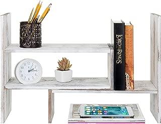 MyGift Whitewashed Wood Adjustable Desktop Office Organizer Display Shelf