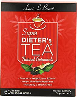 Laci Le Beau Super Dieter's Tea, All Natural Botanicals, 60 Count Box (Pack of 2)