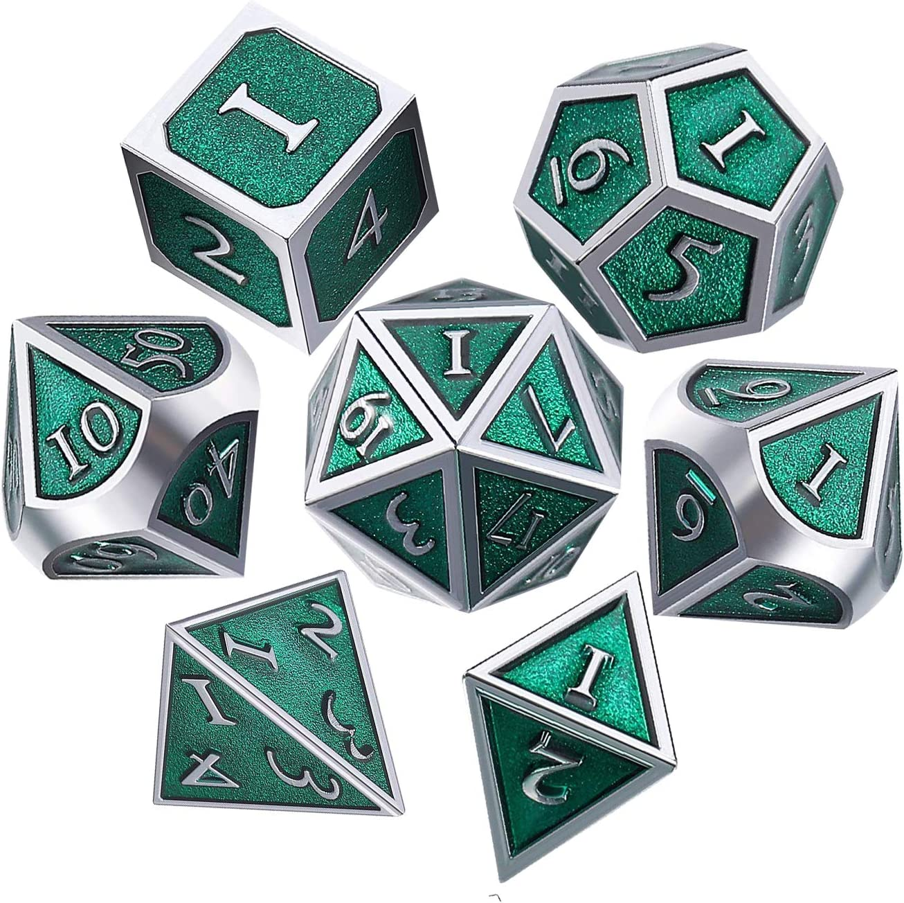 UONUOT 7pcs DND Metal Dice Reservation New Free Shipping Set Polyhedral Black Pouches with DD