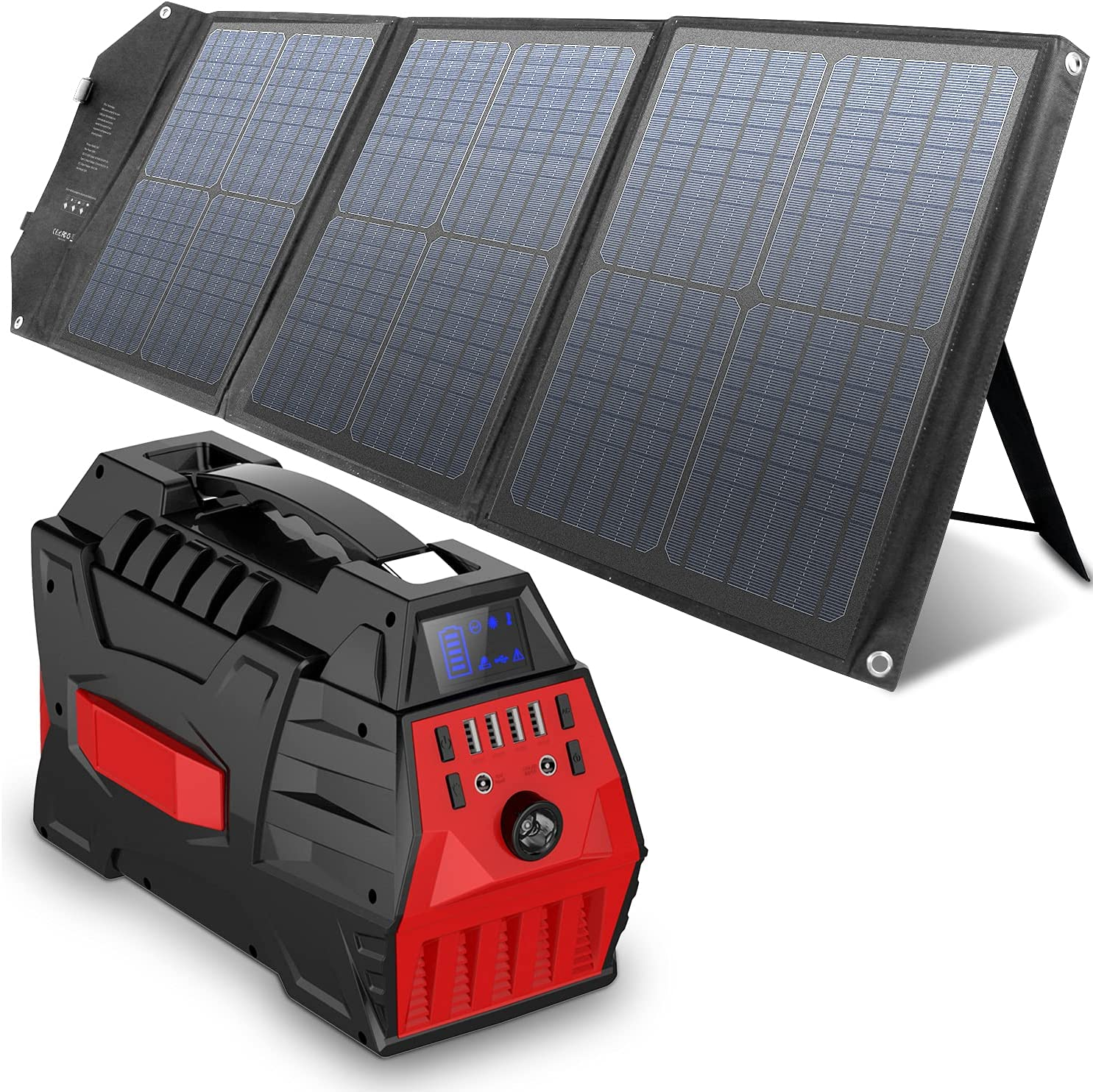 296Wh Portable National uniform free shipping Power Station with Solar Panel Large discharge sale Generat 60W