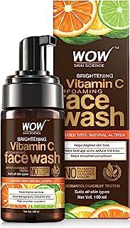 WOW Skin Science Brightening Vitamin C Foaming Face Wash - with Lemon & Orange Essential Oils - For Skin Brightening - No ...