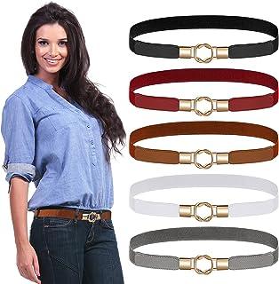 5 Pieces Women Skinny Belts Elastic Thin Belt Stretchy Waist Belt Retro Waist Cinch Belt Metal Buckle Ladies Waist Belt fo...