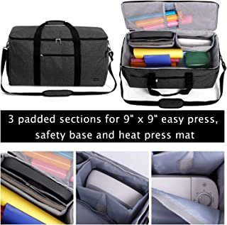 Luxja All-in One Bag for Cricut Die-Cut Machine and Cricut Easy Press (9 x 9 inches), Carrying Case for Cricut Machine and Supplies, Compatible with Cricut Explore Air and Maker (Patent Pending), Black