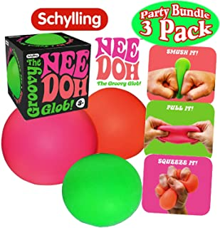 Schylling NeeDoh The Groovy Glob! Squishy Squeezy Stretchy Stress Balls Green Orange & Pink Complete Gift Set Party Bundle...