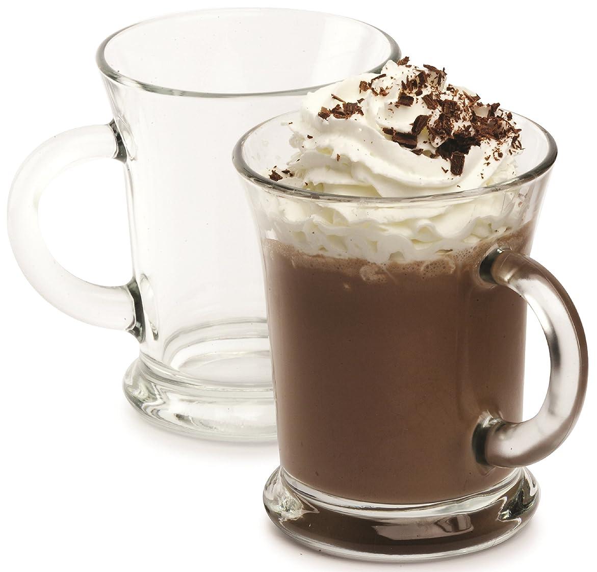ゲート種類かんたんCircleware 66642 Flavour Heavy Base Glass Coffee and Tea Mugs, Set of 4, 350ml, Clear