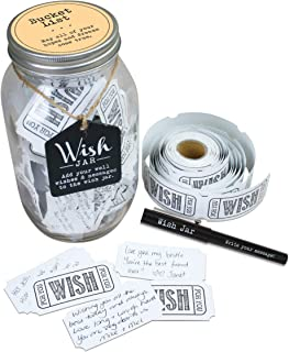 TOP SHELF Bucket List Wish Jar ; Unique Gift Ideas for Him or Her ; Thoughtful Gifts for Birthdays, Christmas, Retirement, or Any Occasion ; Kit Comes with 100 Tickets and Decorative Lid