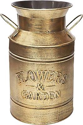 Soyizom Floreros Decorativos   Cubo de campo de granja   Jarra de leche rústica vintage   Maceta de metal galvanizado con asas para flores frescas secas para decoración de mesa, interior y exterior