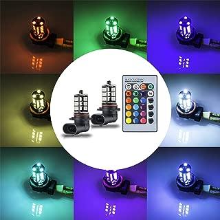 YIJINSHENG 2PCS 27SMD 12V multi-color RGB 5050 HB4 9006 LED Replacement fog lights reversing lights with Headlight Bulb remote Control (9006(HB4))
