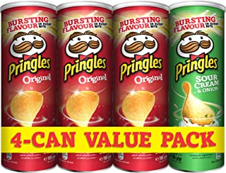 Pringles Sour Cream Chips, 1 x 165 gm + Original Chips, 3 x 165 gm