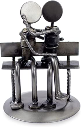 """NOVICA Recycled Auto Parts Romantic 107103"""" Park Bench Sweethearts Iron Statuette"""
