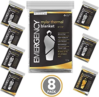 RISEN Emergency Foil Mylar Thermal Blankets - Retains 90% of Body Heat, High Reflective Space Safety Blanket - Ideal Suppl...