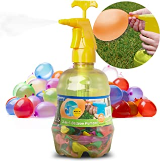 Discovery Kids 3-in-1 Balloon Pumper with 250 Multicolor Water Balloons, Fill with Water, Blow Up with Air, Cool Down Mister, Easy-Fill Nozzle, Portable, No Tap or Hose Required, Active Play Outdoors