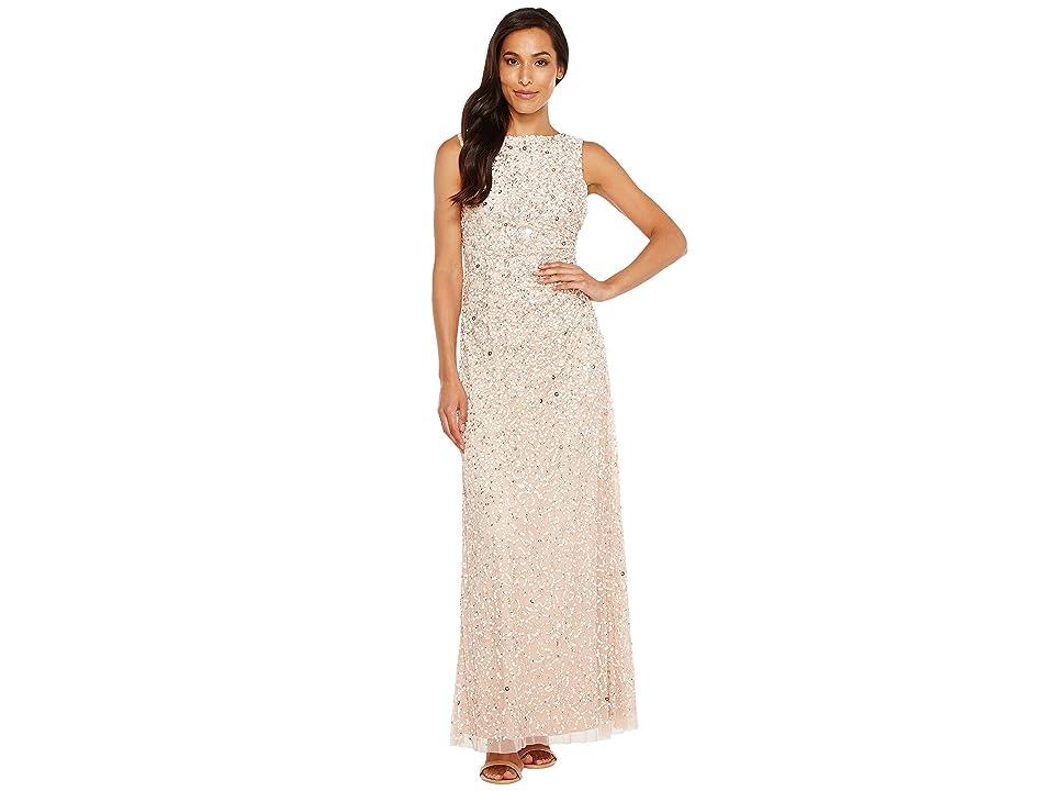 Adrianna Papell Cowl Drape Crunchy Bead Gown (Blush) Women