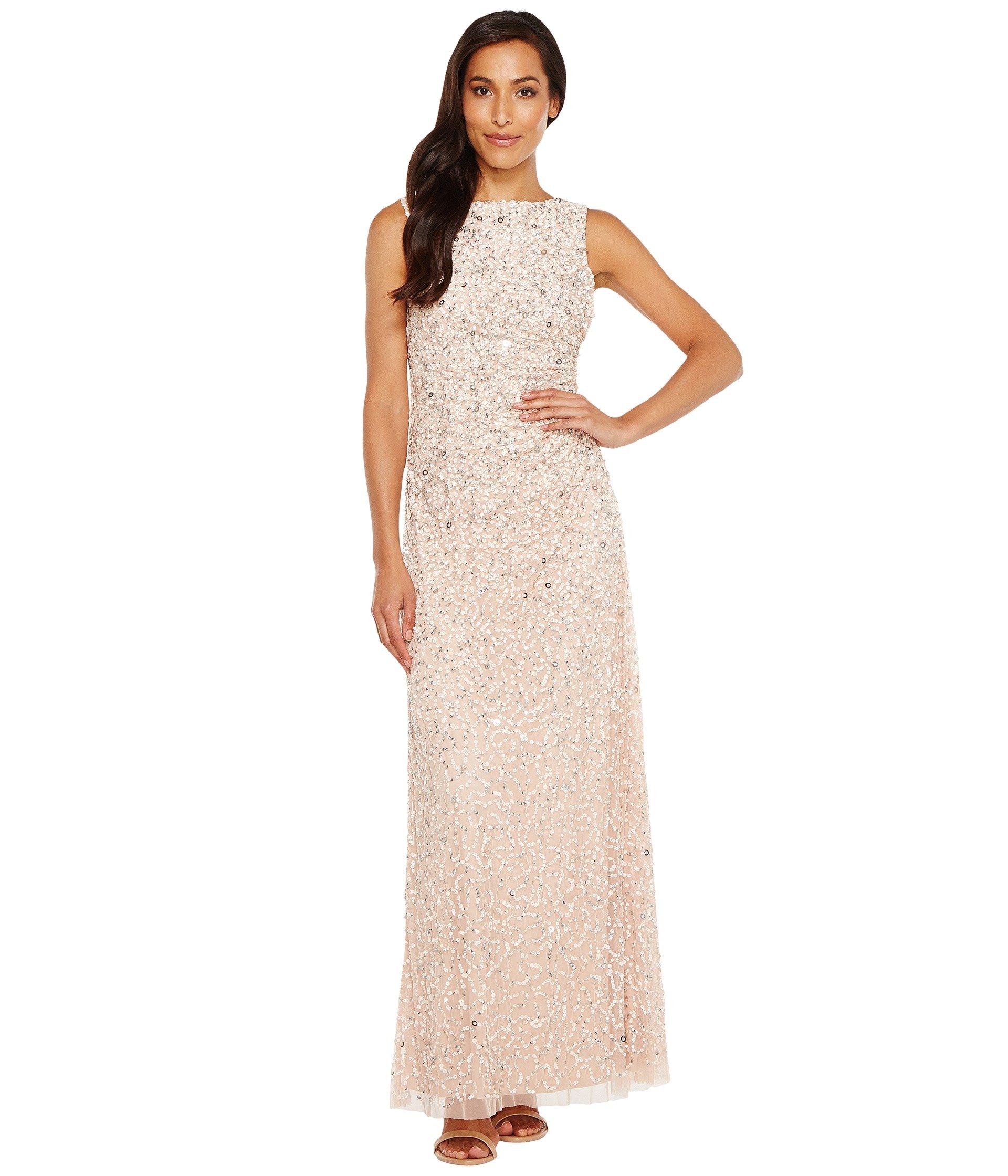 ADRIANNA PAPELL Cowl Drape Crunchy Bead Gown, Blush | ModeSens