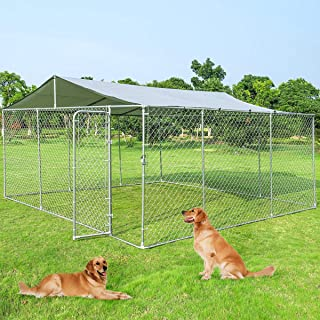 Giantex Large Outdoor Dog Kennel with Shade Roof Cover, Pet Dog Run House with Canopy Top, Chain-Link Mesh Sidewalls, Dog Kennel for Training