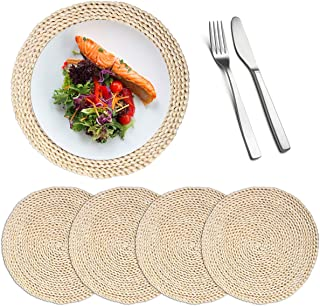Lucas Forest 4 Pack 11.8'' Round Natural Handmade Corn Straw Husk Woven Placemat Braided Rattan Grass Coasters Table Mat H...