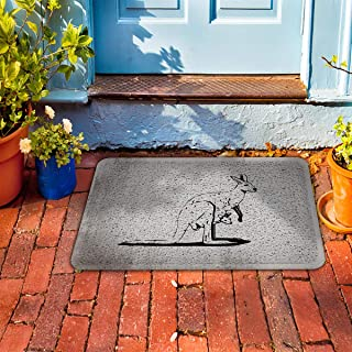 "Prime Leader Indoor Outdoor Doormat Mother Kangaroo and The Baby 18"" x 30"" Dirt Trapper Mats with Rubber Backing for Front/Back Door&High Traffic Area Easy Clean"