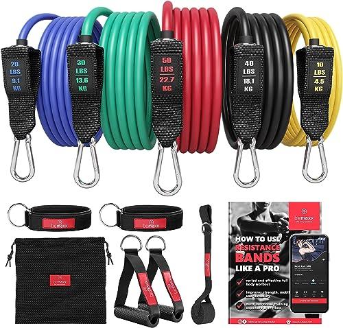 Kit Élastique Musculation Fitness + Guide Exercices, 5X Bandes de Résistance Tubes Professionnels + Poignées, Ancre d...