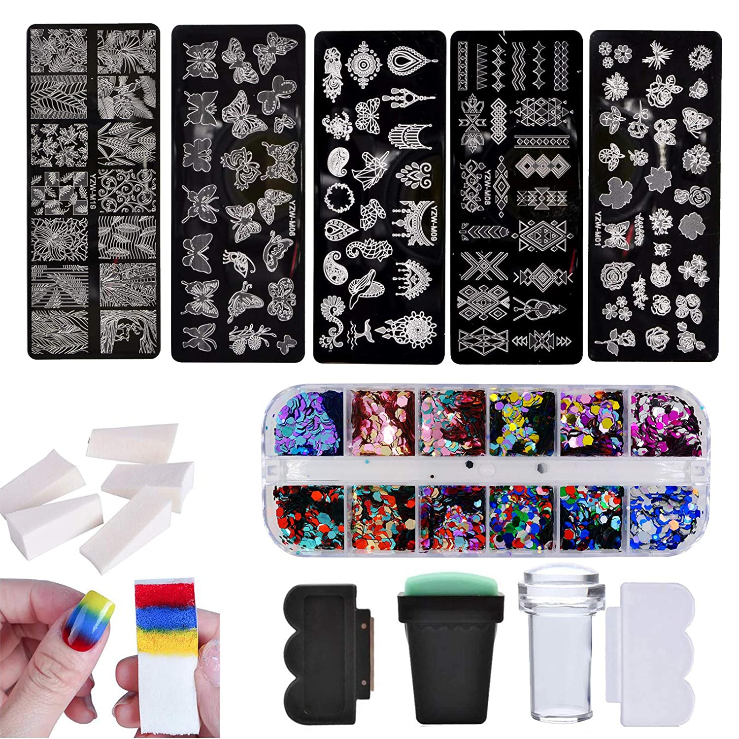 Bellefin Nail Art Tools Kit 5pcs Nail Stamping Plate 2pcs Stamper Scraper 12 Colors Chunky Glitters 5pcs Sponge Butterfly Animal Lace Geometry Image Template