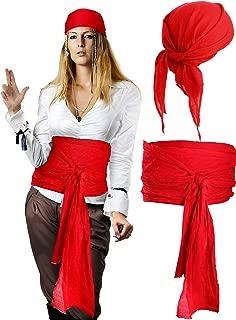 Halloween Pirate Costume Medieval Renaissance Pirate Bandana and Large Sash Costume Waist Belt Accessory