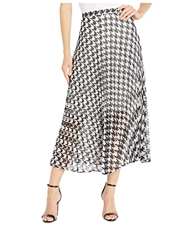 Vince Camuto Houndstooth Pleated Midi Skirt (Rich Black) Women