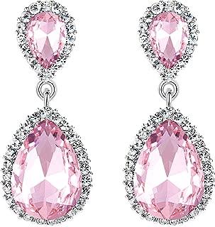 Women's Austrian Crystal Wedding Tear Drop Dangle Earrings