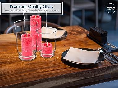 Hurricane Pillar Candle Holder, Clear Glass Flower Vase, Terrarium Succulent Planter, Decorative Centerpiece for Home or Wedd