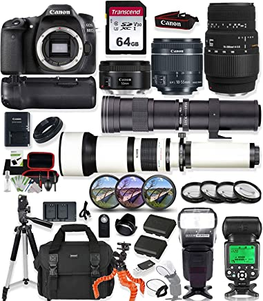 $1499 Get Canon EOS 80D DSLR Camera with 18-55mm Lens, 50mm f1.8 Lens & Sigma 70-300mm Lens + 420-800mm & 650-1300mm Telephoto Zoom Lenses Prime Accessory Bundle
