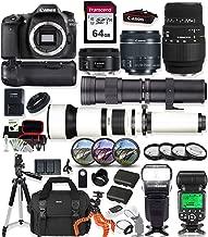 Canon EOS 80D DSLR Camera with 18-55mm Lens, 50mm f1.8 Lens & Sigma 70-300mm Lens + 420-800mm & 650-1300mm Telephoto Zoom Lenses Prime Accessory Bundle