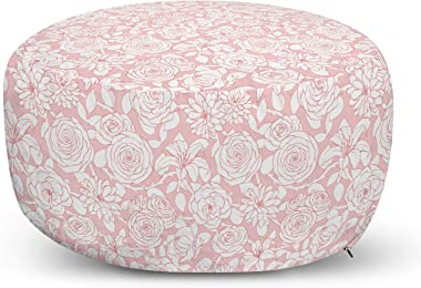 Lunarable Floral Ottoman Pouf, Pointed Petals Peony Chrysanthemum Camellia Lily Motifs in Pastel Tones Pattern, Decorative So