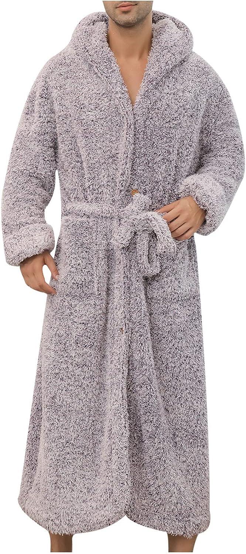 Men's Warm Fleece Robe, Plush Bathrobe Flannel Warm Fleece Robe with Hood,Plush Sherpa Big and Tall Bathrobe