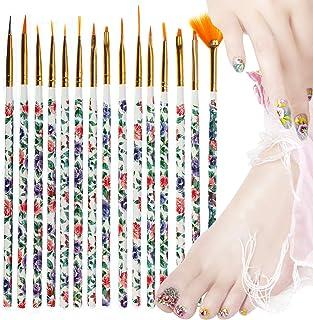 HEKOY 15pcs Nail Art Brushes Kit Nail Paint Brush Acrylic Gel 3D Glitter Liner Nail Polish Pen Sets DIY Nail Art Designs Supplies Accessories