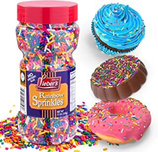 Lieber's Rainbow Sprinkles | Tasty Colorful Jimmies Are A Great Dessert Topping For Cooking, Baking & Decorating Ice Cream...