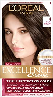 L'Oreal Paris Excellence Creme Permanent Hair Color, 4 Dark Brown, 1 Count